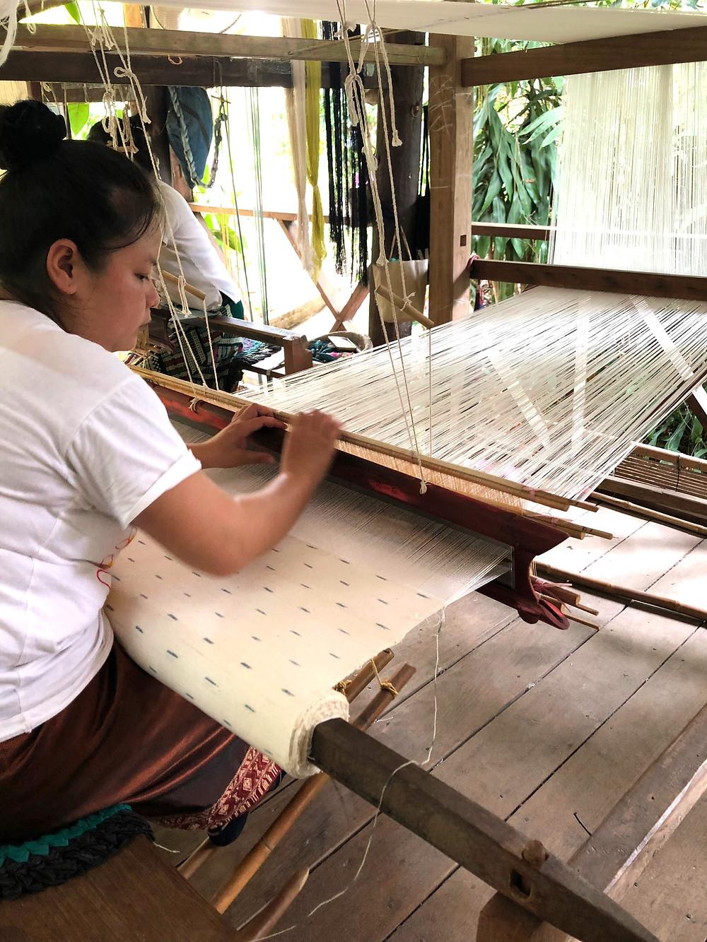 female ock pop tok opt laos luang prabang fabric