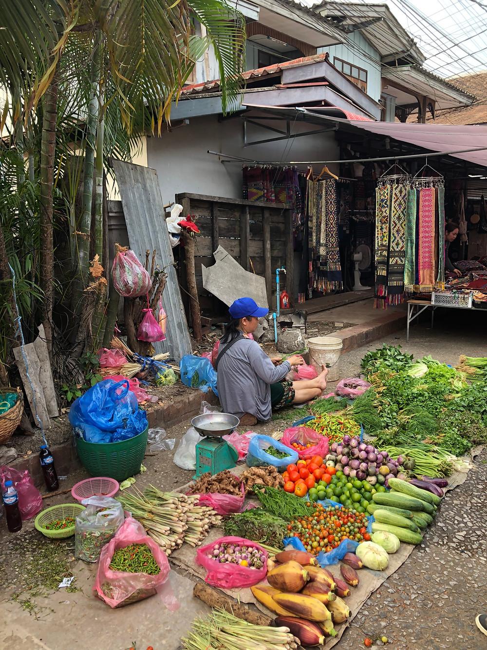 vegetables green morning market laos luang prabang