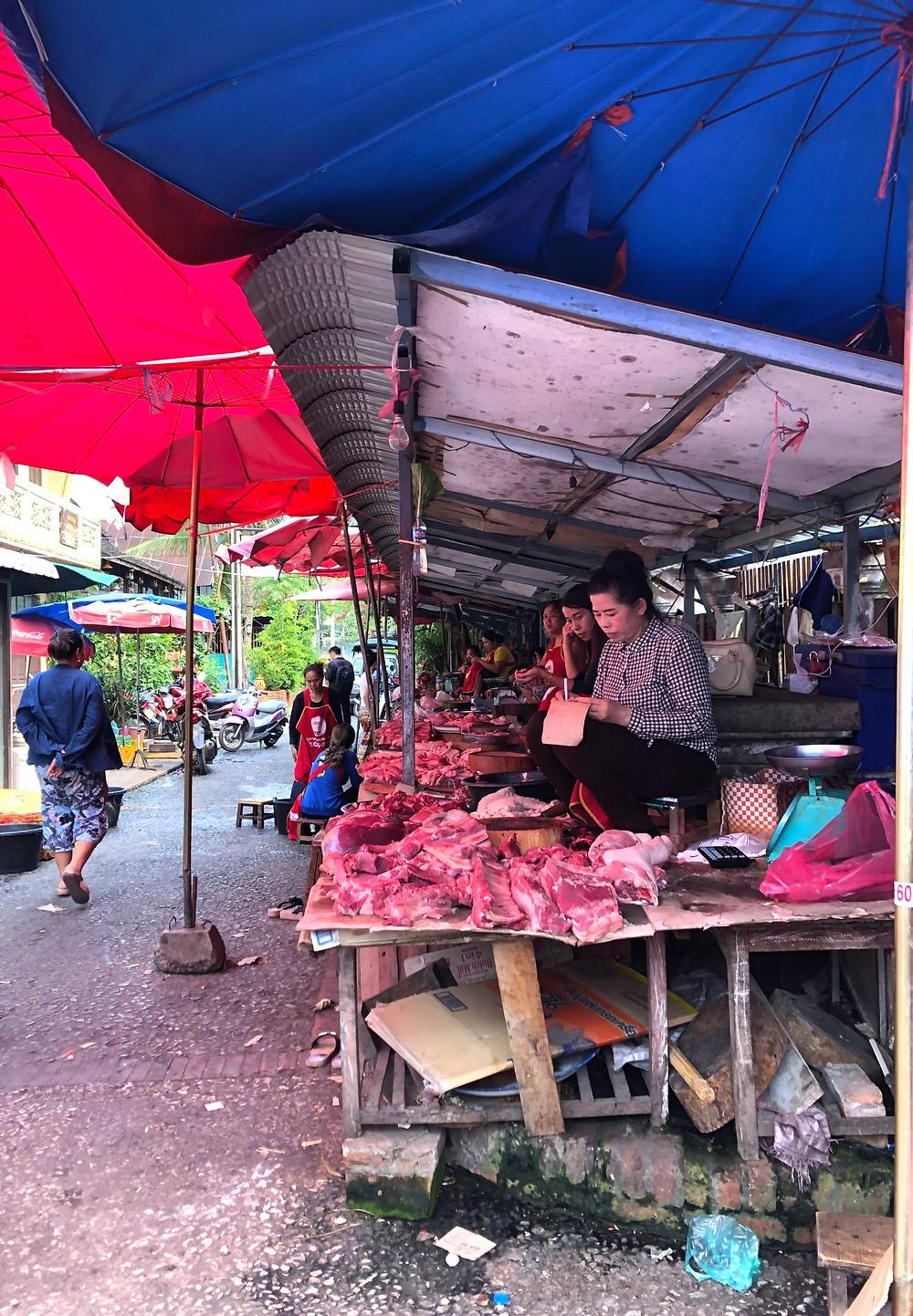 meat butcher beef pork buffalo laos luang prabang market