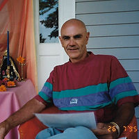 Len on porch with altar 7-1995 sq.jpeg