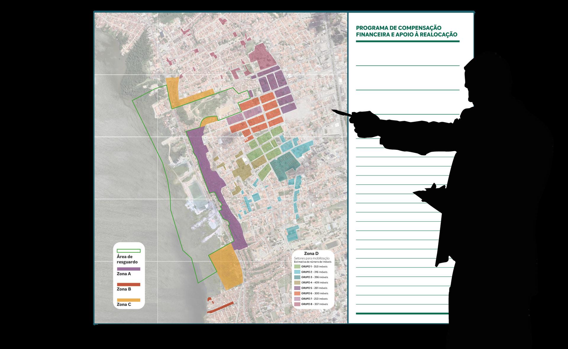Mapa painel com 1,5 m de altura sobre perímetro de atendimento