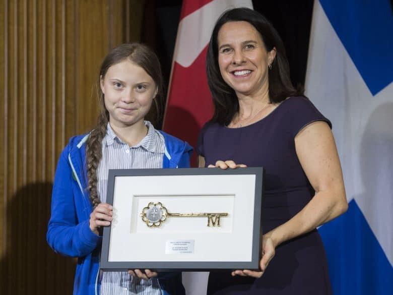 Greta e a prefeita de Montreal, Valérie Plante