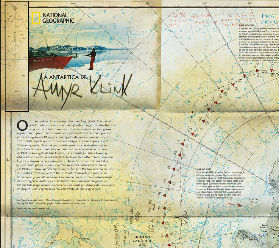 Trajetos de Amyr Klink :: National Geographic