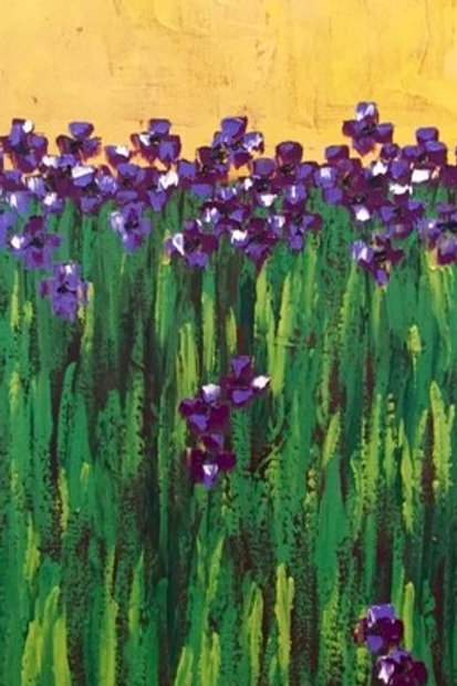 """Purple Flowers 15""""x30"""""""