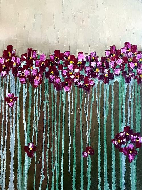 "Magenta Flowers 18""x24"""