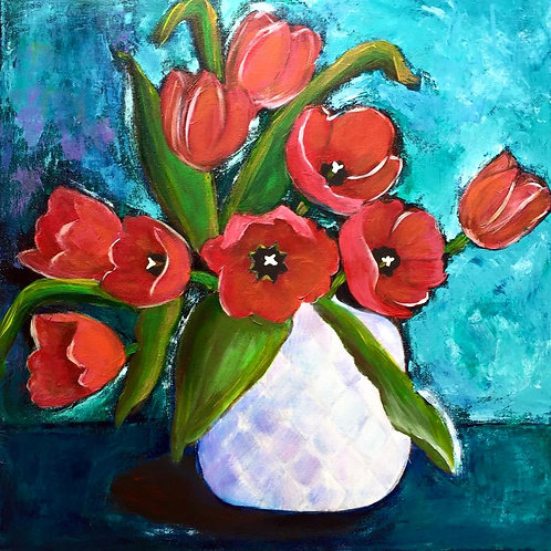 """Red Tulips in a Vase 20x20"""""""