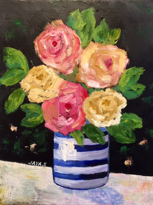 """Pink and Yellow Roses 14""""x18"""""""