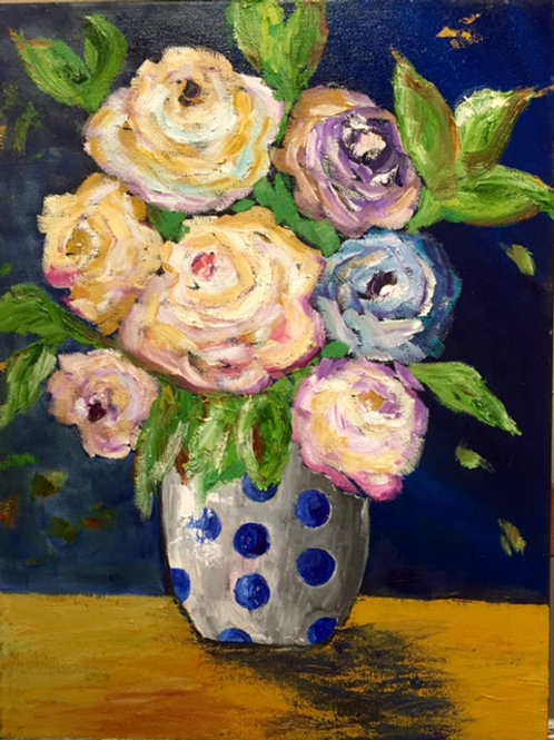 "Flowers in a Polka Dot Vase 12""x16"""