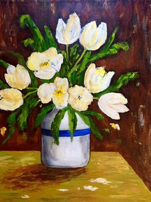 "White Tulips in a Vase 20""x24"""