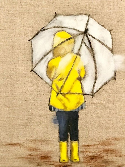"Yellow Raincoat 2 11""x14"""