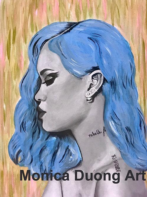 Rihanna (Blue Hair ) Print