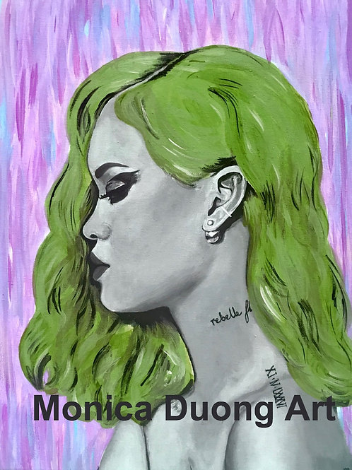 Rihanna (Green Hair) Print