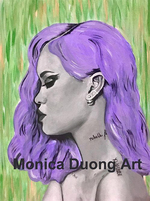 Rihanna (Purple Hair) Print