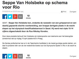 Seppe Van Holsbeke op schema voor Rio