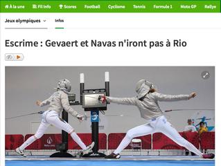 Escrime: Gevaert et Navas n'iront pas à Rio