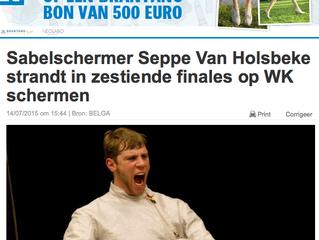 Sabelschermer Seppe Van Holsbeke strandt in zestiende finales op WK schermen