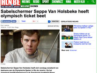 Sabelschermer Seppe Van Holsbeke heeft olympisch ticket beet