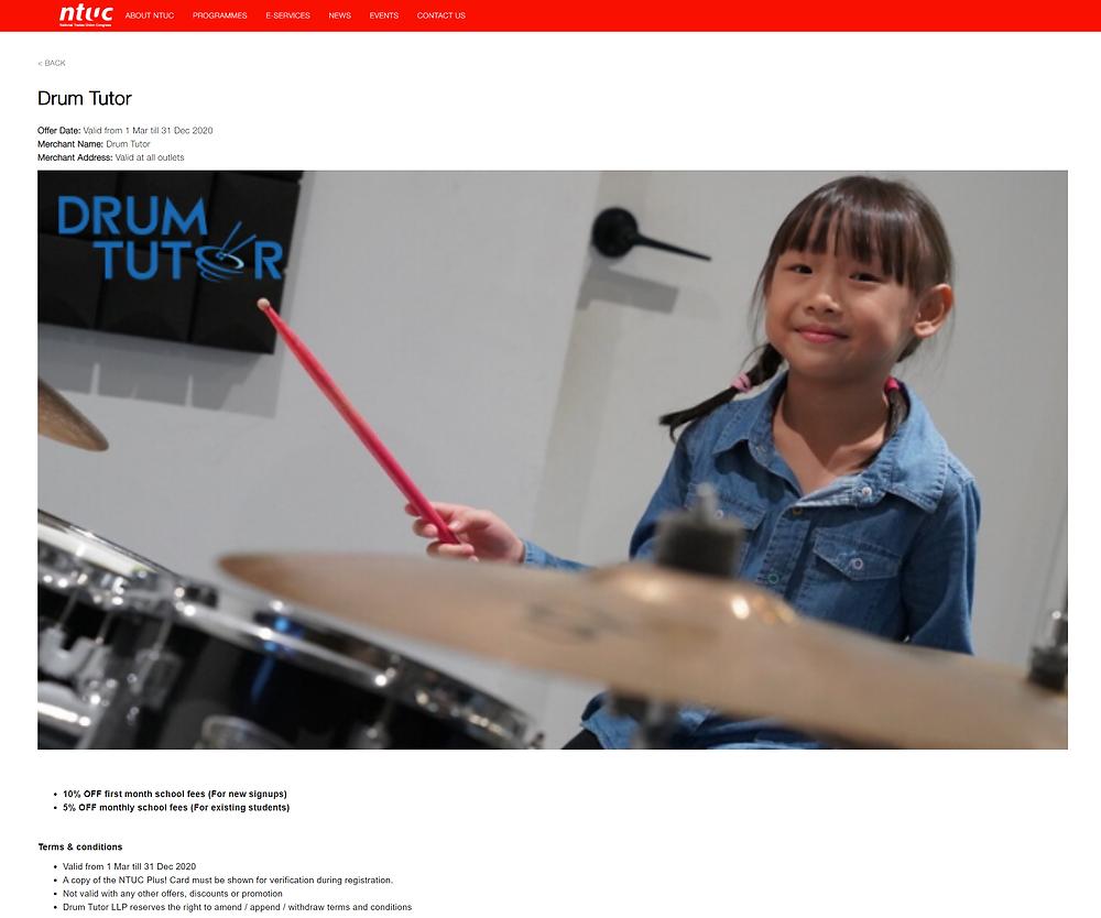 NTUC Drum Tutor Promotion