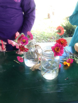 Making bouquets from our garden