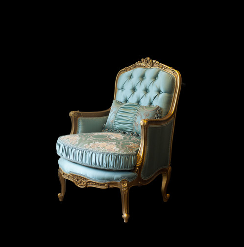 ISABELLA Louis XV French Armchair Gold Leaf Duck Egg Blue