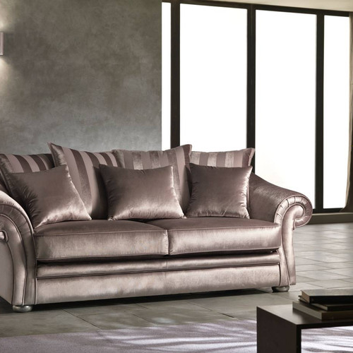 Luxury Champagne Italian Velvet Sofa Couch