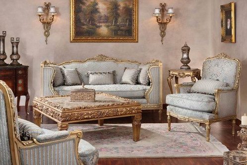 MUSCAT Royal Arabian Stripe Light Blue Damask Sofa Armchair Set