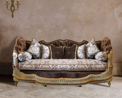 Amelia Luxury Chocolate Brown Velvet Elevated Damask Print Sofa Couch