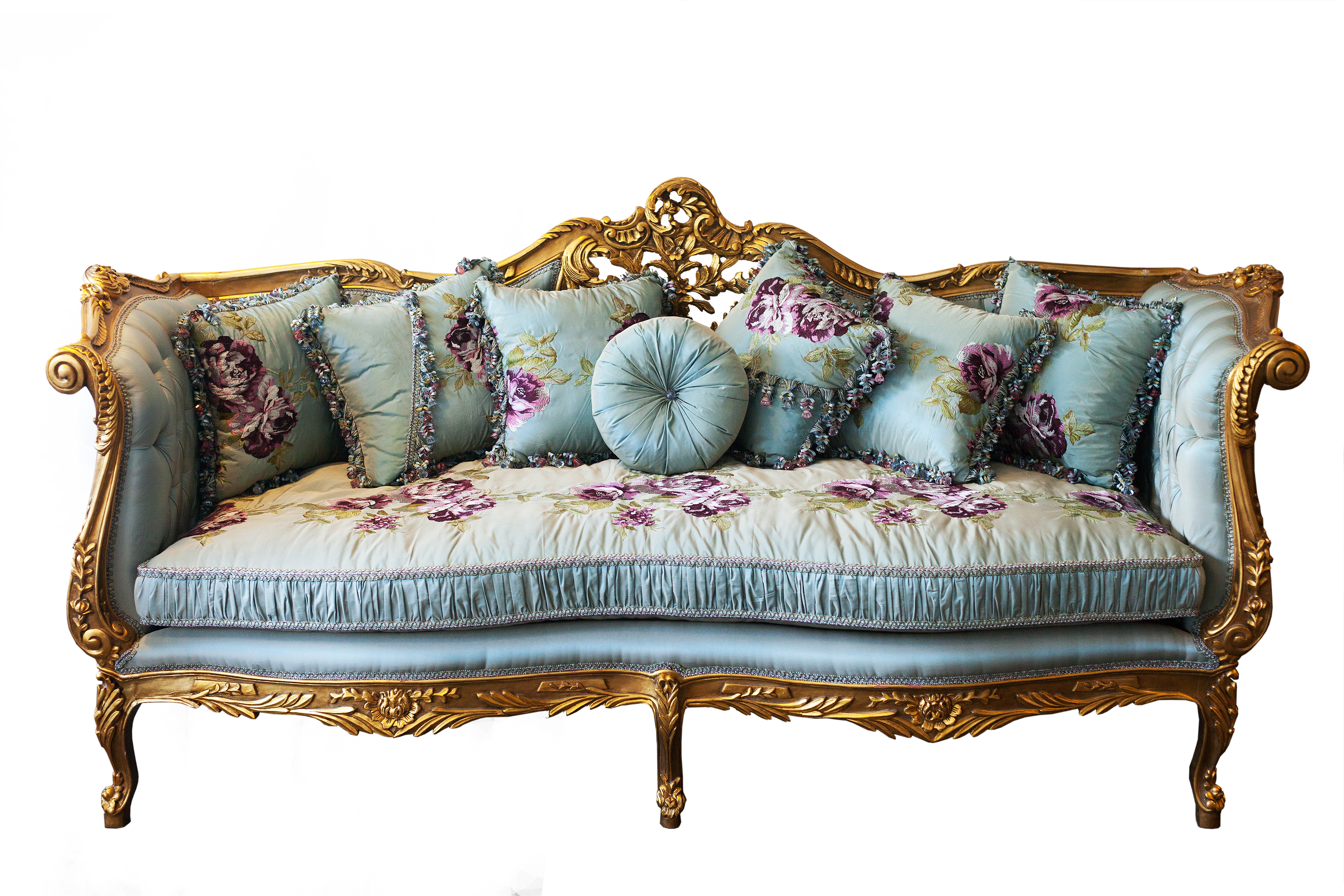 Louis XV Style Gold Leaf Day Sofa. A Truly Elegant Three Seater Day Sofa  Upholstered To The Highest Standards Using A Beautiful Tiffany Blue  Patterned ...