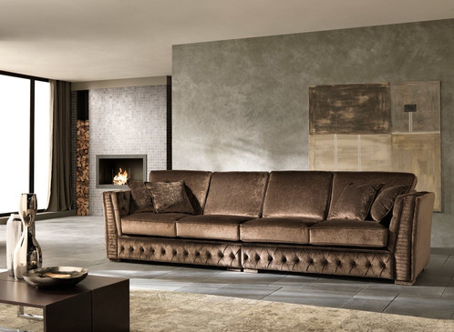 Luxury Italian Chocolate Brown Velvet Sofa Couch