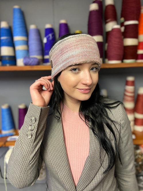 Pink, Blue & Brown Painty Winter Headband with Glass Fibre