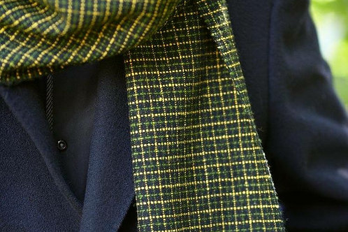 Green and Yellow Check Mans Scarf