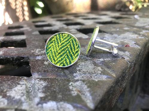 Yellow & Green Herringbone Cufflinks