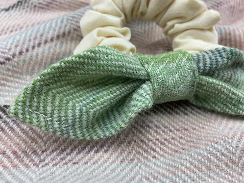 Blue Green Painty Bow Scrunchie