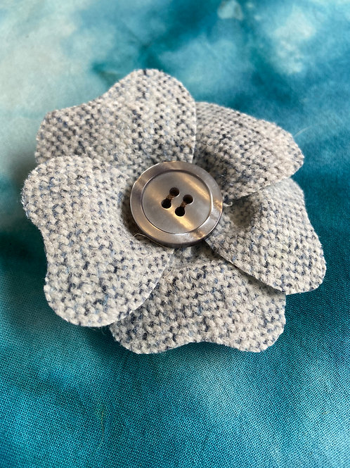 Small Ivory, Blue & Grey Painty Flower