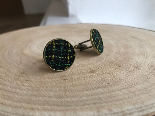 23mm Black, Green & Yellow Check Fabric Cufflinks