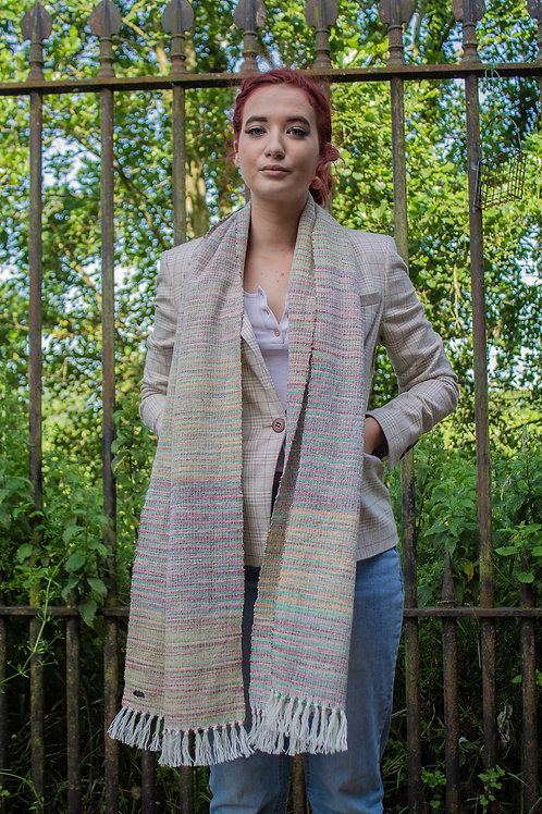 Multi Coloured Raw Silk & Wool Scarf