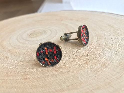 Black, Red & Orange Check Fabric Cufflinks