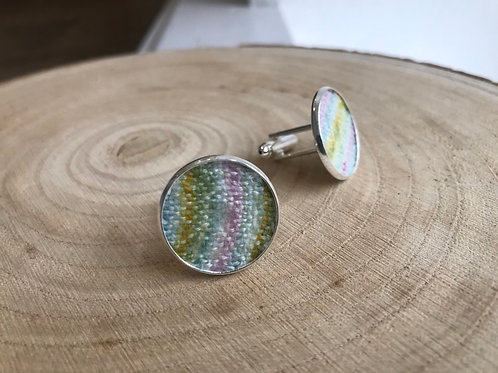 Somerset Sunset Painty Cashmere Fabric Cufflinks