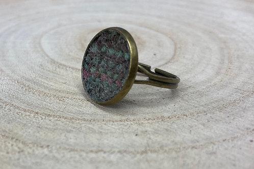 Pale Blue Tweed Cocktail Ring