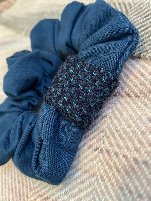 Navy & Teal Band Scrunchie