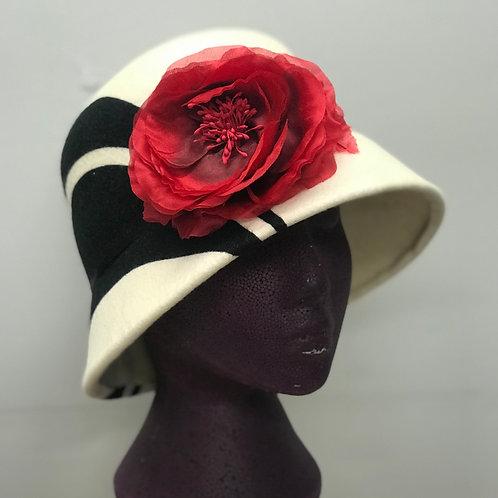 Black & Ivory Poppy Cloche