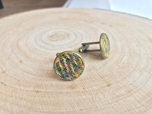 Green & Yellow Painty Twill Fabric Cufflinks