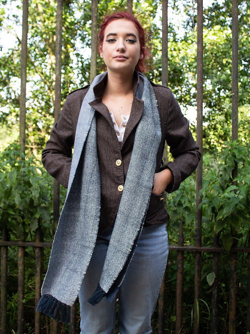 Navy & Undyed Wool Scarf