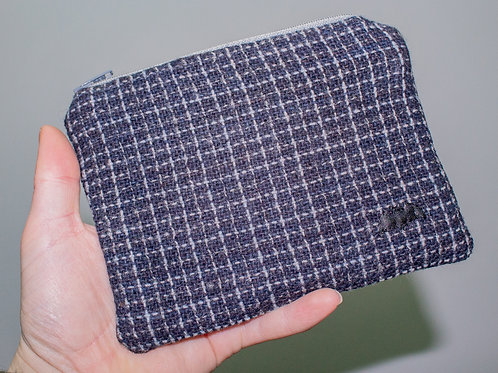 Blue &Grey Check Zip Pouch