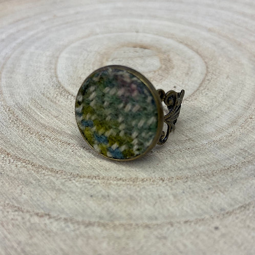 Green Painty Herringbone Cocktail Ring