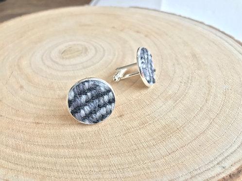 Grey & Black Twill Fabric Cufflinks