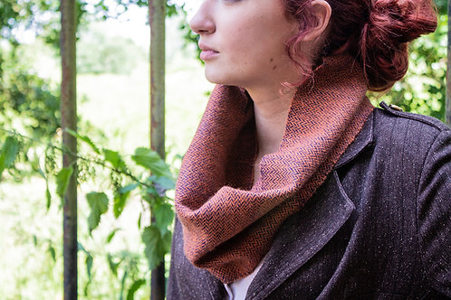 Navy & Burnt Orange Herringbone Small Snood