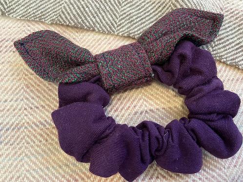 Purple & Green Herringbone Bow Scrunchie