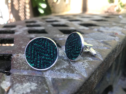 Black & Green Herringbone Cufflinks