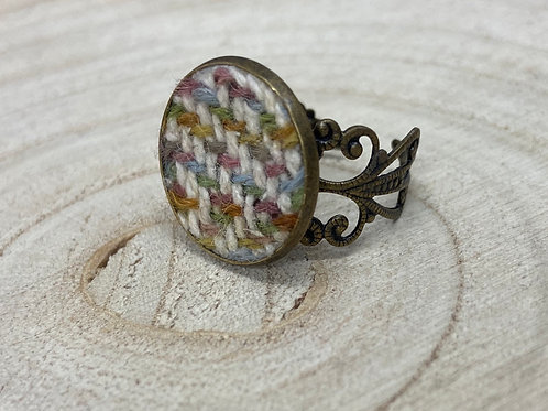 Painty Pastel Twill Cocktail Ring
